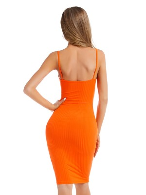 Catching Orange Strap Sweater Dress Solid Color Tailored Quality