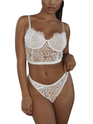 Erotic White 3 Back Closures Lace Mesh Bralette Close Style