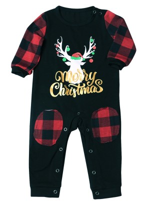 Women Christmas Baby Jumpsuit Plaid Patchwork Slim Fitting