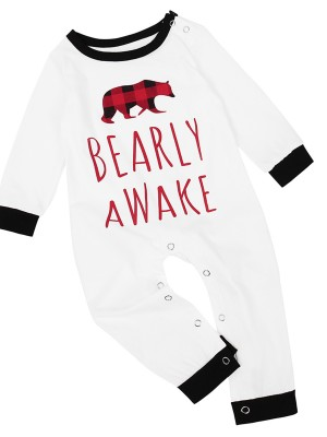 Contrast Color Bear Pattern Loungewear For Baby Loose Fit