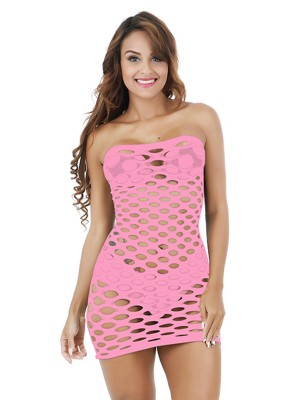 Sheer Pink High Stretch Teddy Fishnet Mini Length Top Quality