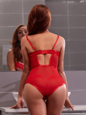 Intriguing Red Slender Strap Lace Teddies Hollow Out Romantic