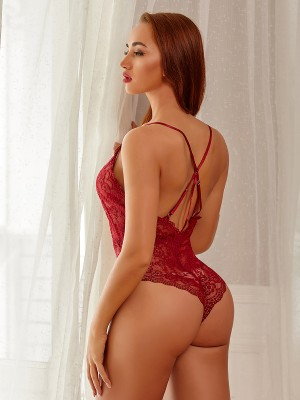 Attractive Wine Red Lace Adjustable Straps Teddy Lingerie