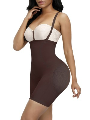 Breathable Dark Coffee Seamless Full Body Shaper Sheer Mesh