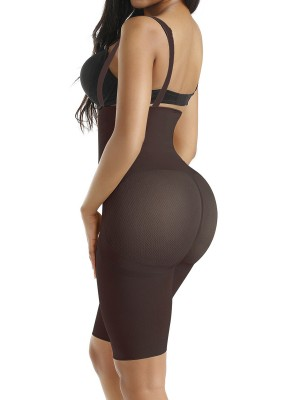 Tummy Trimmer Dark Coffee Full Body Shaper Thigh Length Mesh