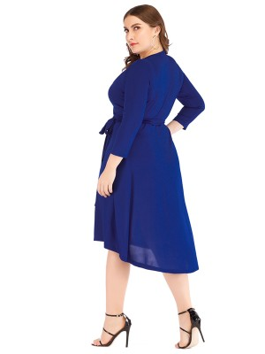 Inviting Royal Blue Tie Waist Large Size V Neck Dress For Beauty