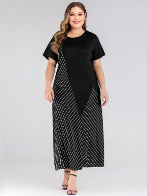 Breathable Black Stripe Patchwork Large Size Dress Chic
