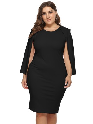 Lovely Black Cape Sleeve Round Neck Plus Size Dress Sexy Fashion