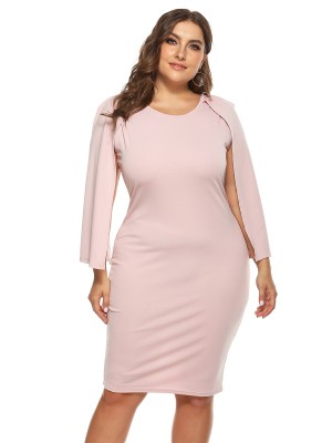 Super Pink Solid Color Big Size Dress Cape Sleeve Casual Fashion