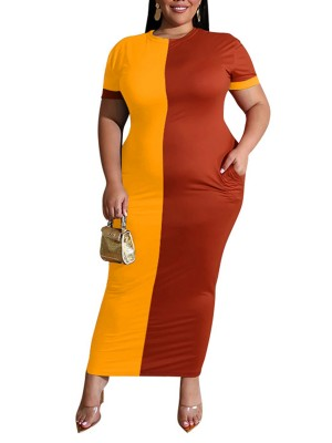 Romance Yellow Contrast Color Round Neck Maxi Dress Breathable