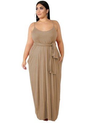 Extra Sexy Khaki Queen Size Dress Slender Strap For Sauntering