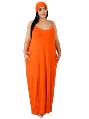 Ultra Cool Orange Sleeveless Solid Color Maxi Dress Elasticity