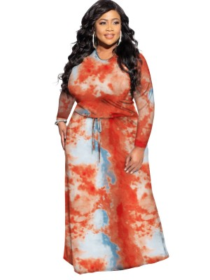 Red Tie-Dyed Long Sleeve Big Size Dress Fashion For Women