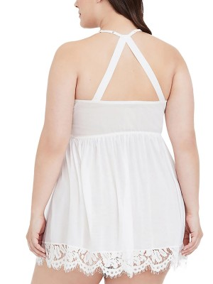 Awesome White Plus Size Babydoll Lace Halter Neck