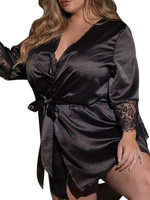Affordable Black Solid Color Queen Size Nightgown Standard Fit