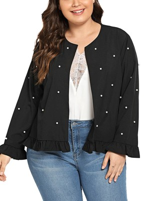 Functional Black Long Sleeve Ruffles Pearls Jacket Casual Time