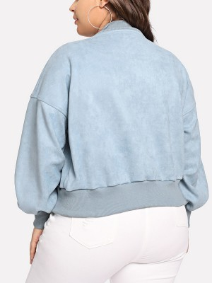 Enticing Blue Long Sleeve Zipper Jacket Plus Size Unique