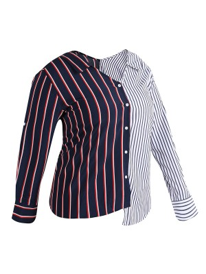 Dazzling Large Size Shirt Patchwork Button Comfort Fabric
