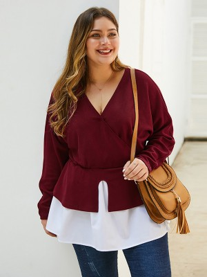 Beautifully Red Colorblock Plus Size Top V Collar