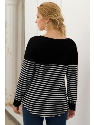 Ruching Black Stripe Patchwork Shirt Large Size Women Fashion