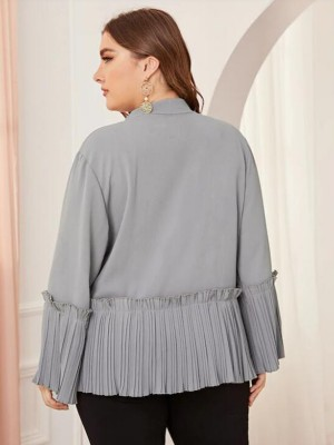 Loose Gray Queen Size Shirt Ruffle Hem For Elegant Ladies