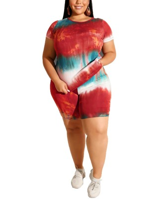 Funny Red Plus Size Crew Neck Top Suit Tie-Dyed For Traveling