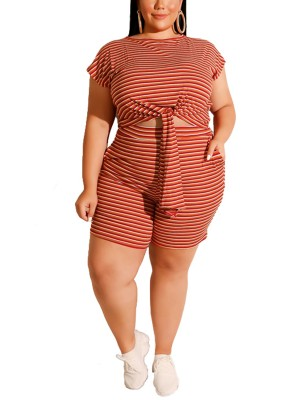 Multicolored Red Stripe Print Plus Size Top Suit Knot Forward Women
