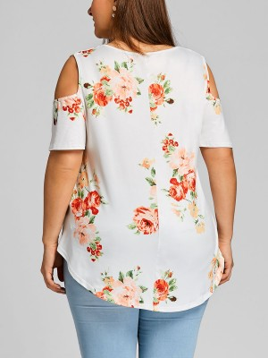 White Big Size Top Short Sleeve Floral Print Best Materials