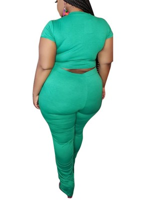 Comfy Green Cropped Top Full Length Leggings Lady Fashion