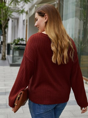 Individualized Dark Red Queen Size Shirt Pleated Crew Neck Leisure Wear