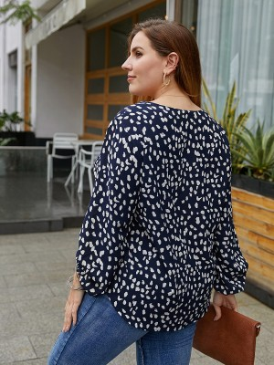 Modern Ladies Dark Blue Long Sleeve Large Size Spot Shirt For Fashion