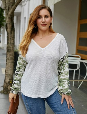 Slouchy White Large Size V-neck Top Long Sleeves Womenswear