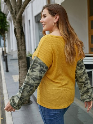 Typical Yellow V Collar Shirt Camo Splice Big Size Stretch