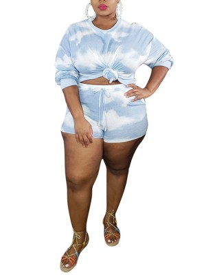 Staple Blue Long Sleeve Top Plus Size Shorts Set Trendy Clothes
