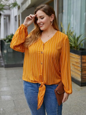 Lovely Yellow V-Neck Plus Size Tie Knot Stripes Top Women's Clothing