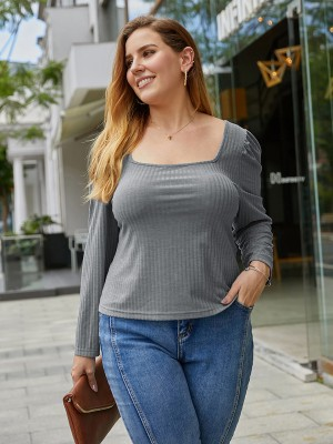 Snazzy Gray Ribbed Blouse Square Neck Queen Size Sexy Ladies