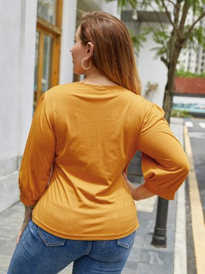 Modern Ladies Yellow Big Size Shirt V Neck 3/4 Sleeve Plain