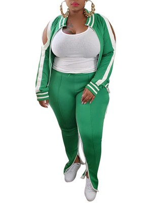 Green Plus Size 2 Piece Outfits With Pockets Sexy Ladies