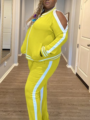 Yellow Colorblock 2 Piece Outfits Contrast Color Splendid Look