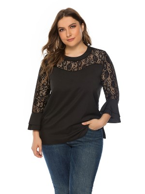 Well-Suited Black Lace Splicing Top Ruffle Large Size High Quality