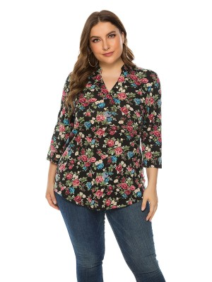 Super Trendy Black V Neck Queen Size Shirt Floral Print For Girl