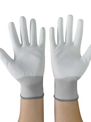 Convenient Gray 10 Pairs Finger Coated Palm Gloves