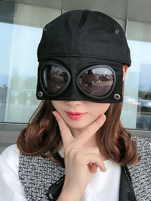 Black Anti-Saliva Eye Protective Baseball Cap For Travel