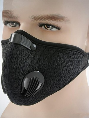 Durable Black PM2.5 Dust-proof Face Sports Mask With Valve