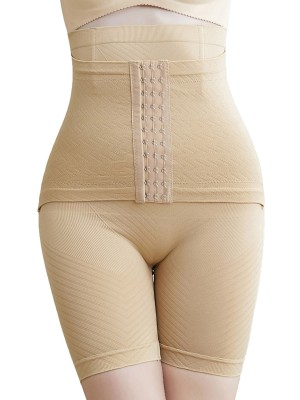 Women Khaki Seamless Panty Hook-and-Eye Closure Hidden Curves