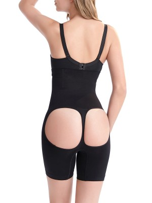 Practical Black Seamless High Waist Butt Lifter Open Bottom