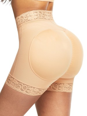 Firm Control Deep Skin Color Solid Color Lace Trim Shorts Shapewear