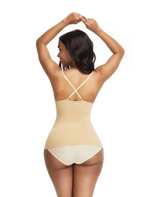 Firm Control Beige Yellow Seamless Sling Vest Shaper Backless