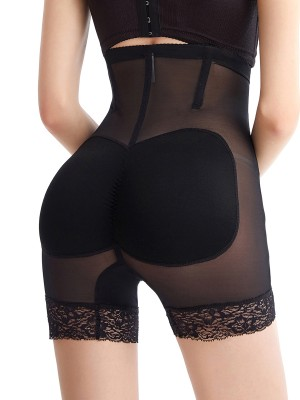 Stretchy Black High Rise Padded Shaper Panty Lace Trim Smoothlines