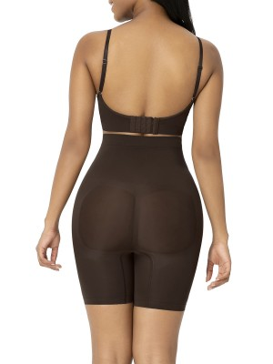 Deep Brown Seamless Shapewear Shorts High Waist Curve Slimmer